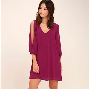 LuLus Exclusive Magenta Long Sleeve Shift Dress XS
